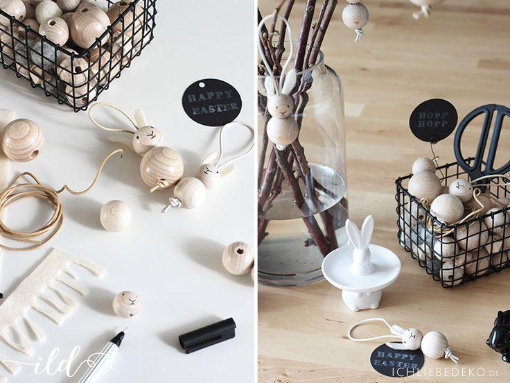 Step by Step zum selbstgebastelten Osterhasenanhänger aus Holzkugeln