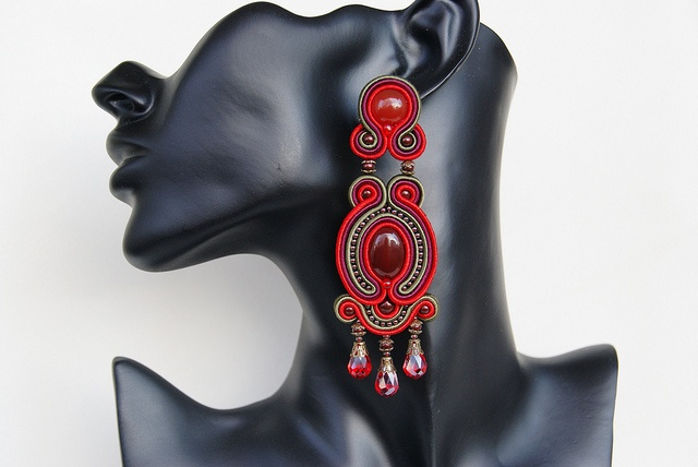 Soutache Ear Clips - Passionate by BeadsRainbow, via Flickr