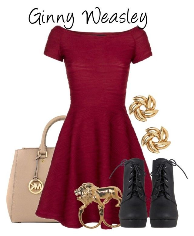 """""""Ginny Weasley // Harry Potter"""" by glitterbug152 ❤ liked on Polyvore featuring MICHAEL Michael Kors, Stussy, River Island, harrypotter, ginnyweasley and allegrabounds"""