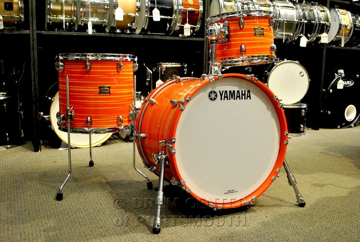 Yamaha club custom downbeat drum set 20 12 14 swirl orange for Hamilton yamaha nj