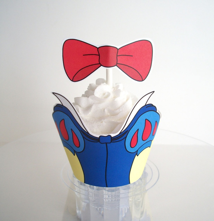 Snow White Party Decorations Cupcake Wrappers and Toppers DIY Digital