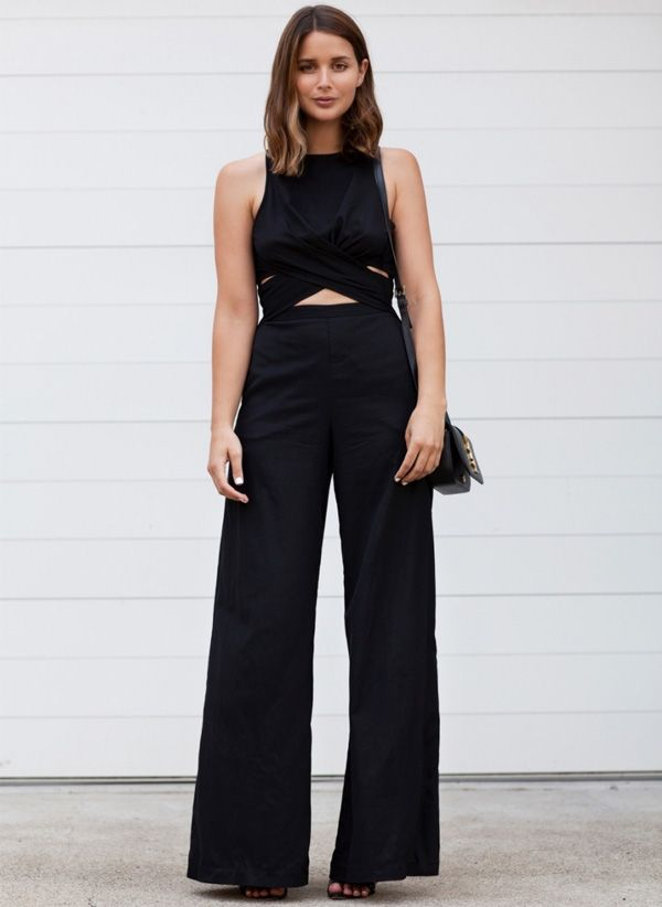 look sara donaldson calça pantalona preta crop top
