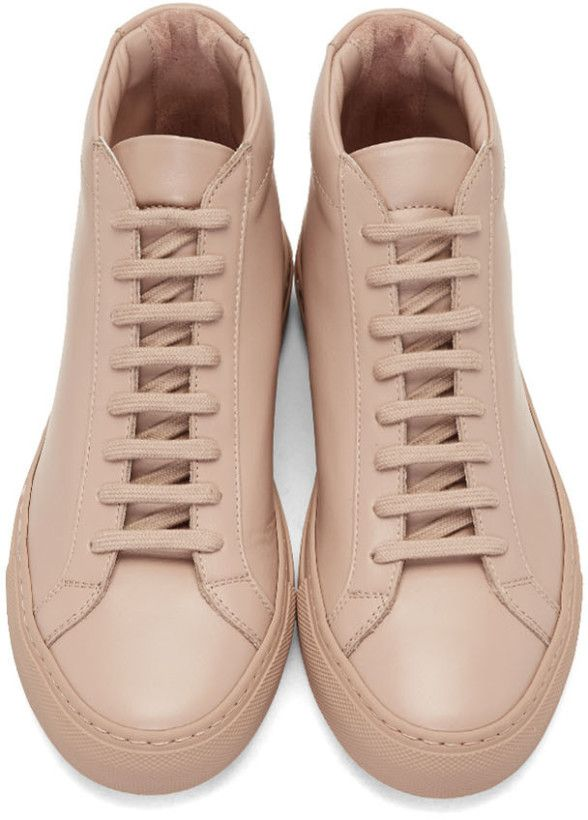 Common Projects Pink Original Achilles Mid Sneakers