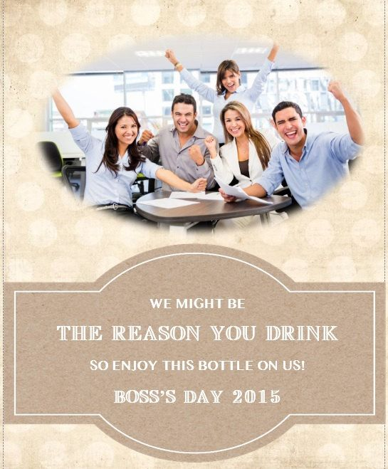 Customized Boss's Day Photo Wine Bottle Label by LoveYouMoreForever on Etsy
