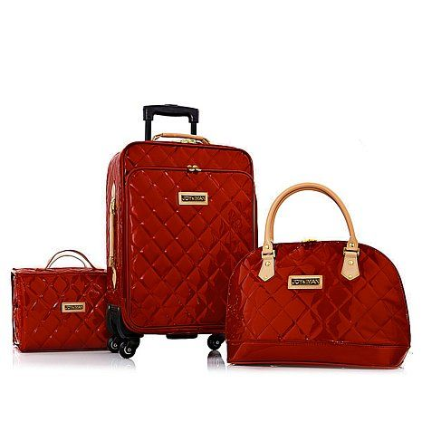 Really Want This In Blue It S Beautiful Joy Iman 4 Piece Iconic Quilted Luggage Set W Handbag Travel Pinterest Sets Bags And Handbags