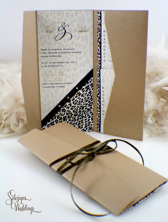 Leopard Wedding Invitation  Suite by SDezigns on Etsy, $7.50