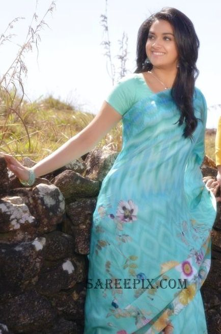 "Beautiful malayalam actress Keerthi suresh saree stills from ""nenu local"" movie. keerthi suresh in printed saree,keerthi suresh side view in saree. Nani's"