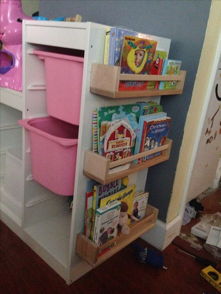 Combined an Ikea Trofast toy storage ($40) with Ikea's Bekväm spice racks ($4 each) and now we have a toy storage with built on book shelves! Save space and TONS of money! My favorite feature is that my toddler sees her book covers since she still can't read the words on the book spines!!! LOVE!!!