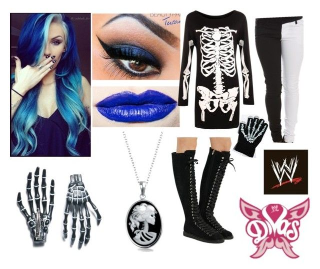 """Blue Bones - WWE Diva - Ring Gear Tag Team Elimination Match"" by iamsynysterinmorewaysthan1 ❤ liked on Polyvore featuring Jeffree Star, WearAll, Torrid, Alexander Wang, Bling Jewelry, Kreepsville 666 and WWE"