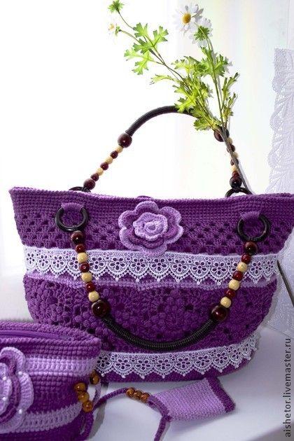 Сумка крючком Punto - фиолетовый,сумочка вязаная,для женщин,подарки к праздникам