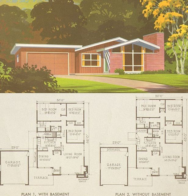 1954 National Plan Service   Plan 7318 from Mid Century Home Style 91 best Mid Century Modern Dream House Plans images on Pinterest  . Mid Century Modern Home Floor Plans. Home Design Ideas