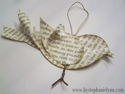 "Use old book pages to make ornaments... wonder if I could photocopy the pages of an old ""keepsake"" book, (baby book?) and age the paper."