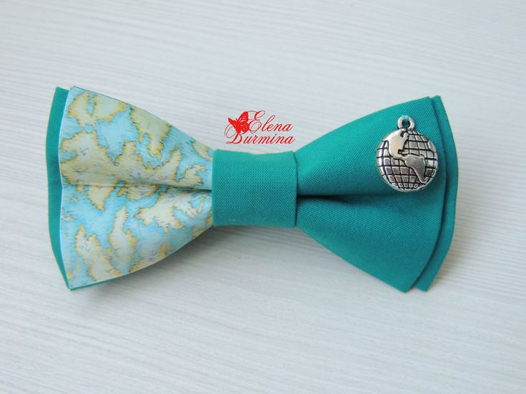 Купить Бабочка галстук с картой и глобусом, хлопок - тёмно-бирюзовый, рисунок, карта мира, карта