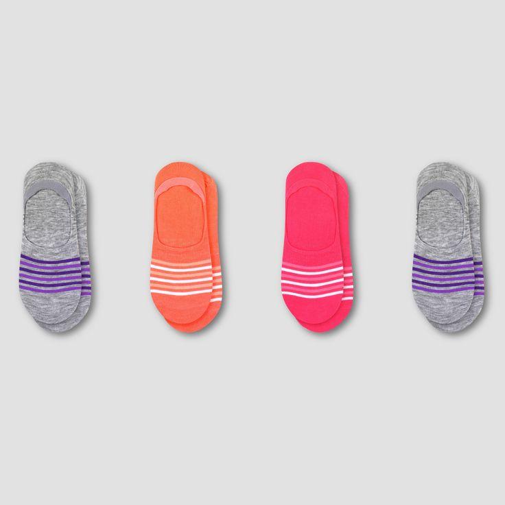 Women's Fresh IQ Invisible Liner Socks 3pk + 1 Bonus - C9 Champion Gray/Purple 5-9