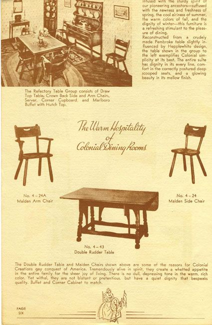 Cushman Colonial Dining Room No. 4 43 Double Rudder Table   1937 H. T.  Cushman