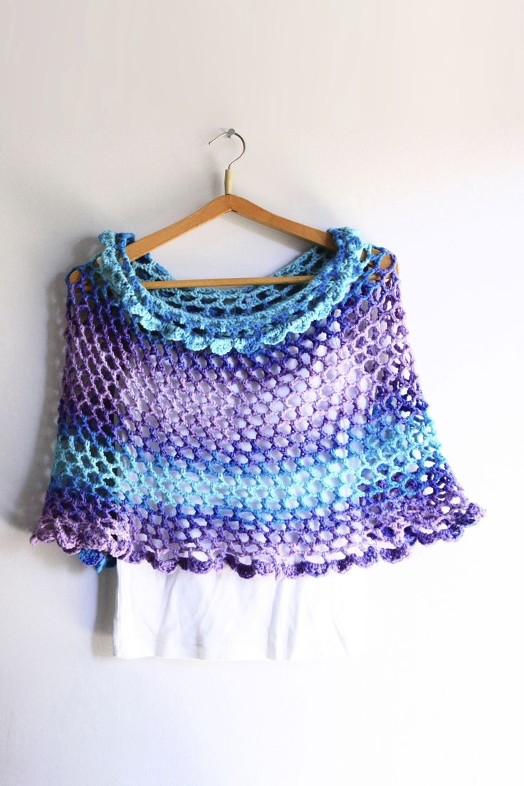 Purple poncho, turquoise poncho, purple capelet, turquoise capelet, scallop edge poncho, scallop edge capelet, Anemone, ready to ship