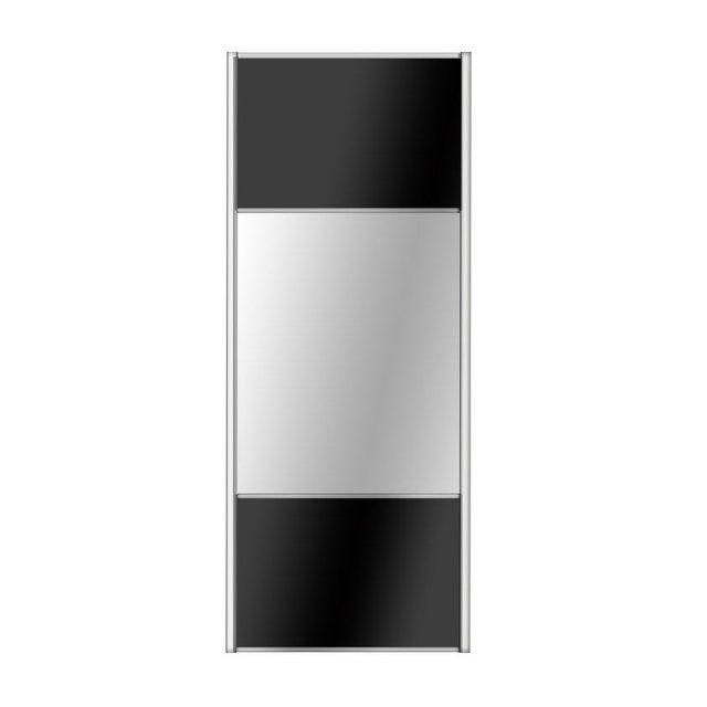 Porte De Placard Coulissante Noir Miroir Spaceo L 98 7 X H 250 Cm Placard Coulissant Porte Placard Porte Placard Coulissante