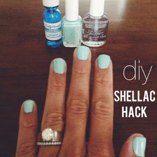 shellac hack - love this. bought everything at CVS and Sally's Beauty Suppply. lasts for 7-8 days. comes off with regular nail polish. starts to peel & chip quick towards the end of 1 week. other than that. way cheaper than gel manicures from a salon.