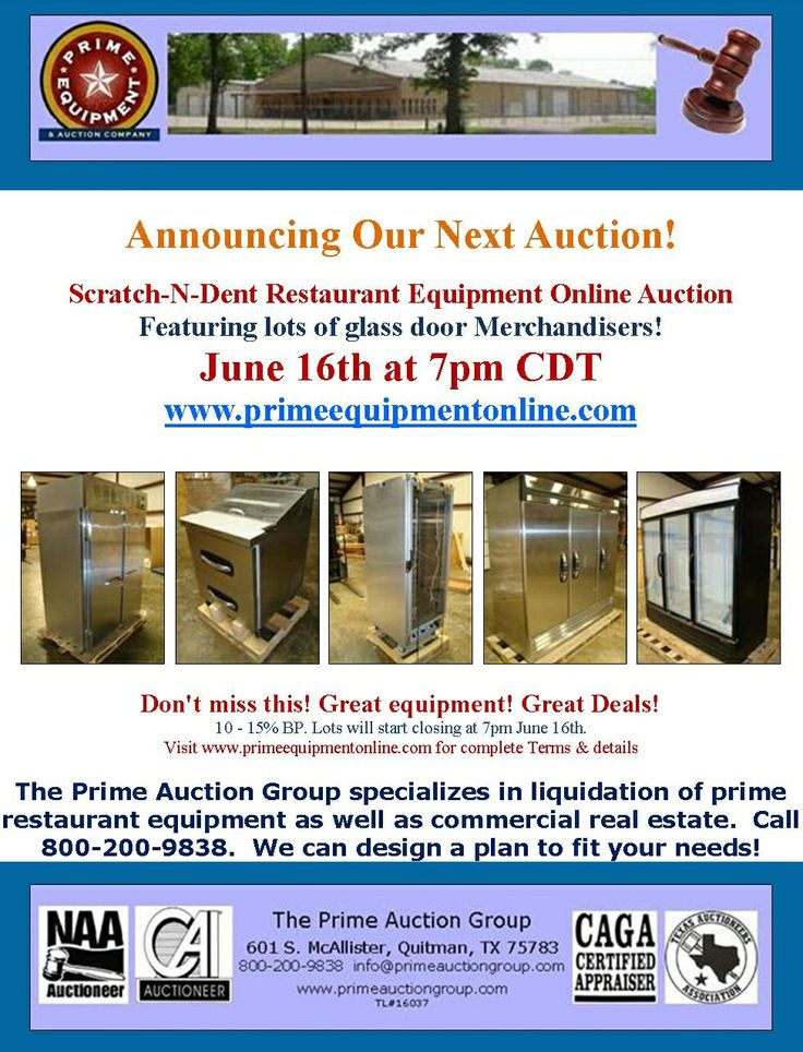 Our next scratch-n-dent restaurant equipment online auction is on June 16th.  Get details at www.primeequipmentonline.com