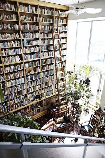 I have more than enough books to fill these shelves. My dream library room! Except I couldn't go up the ladder, way too scary for my fear of heights,  hub or kids would have to get a book for me, lol.