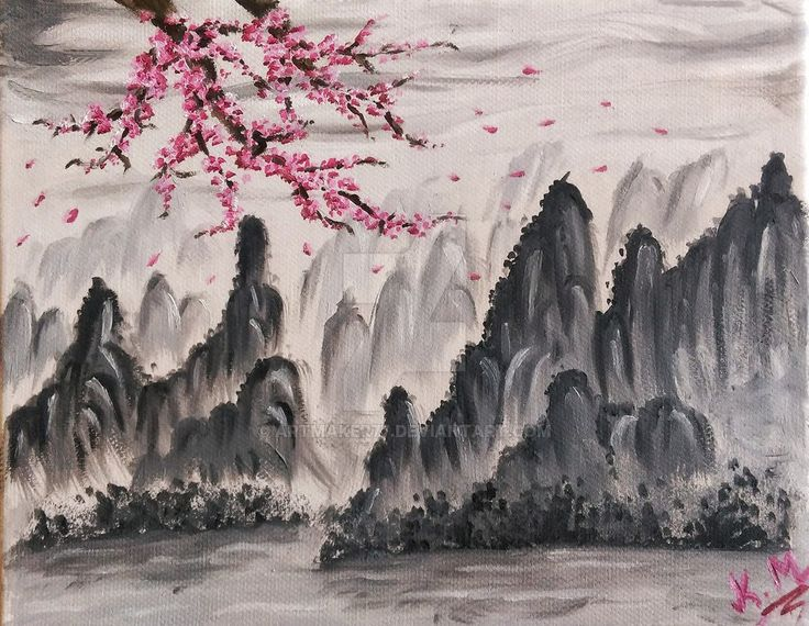 Chinese mountains and Sakura tree | Oil Painting by artmaker77.deviantart.com on @DeviantArt