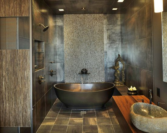 Bathroom with Asian Influence | We love the unique design of stone and tile varieties with an Asian touch to this elegant bathroom. What do you think?