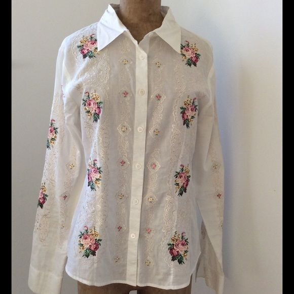 Cake Embellished Blouse 100% cotton blouse. Size medium. Beautiful, intricate embroidery. Great condition. Like new. Cake Tops Button Down Shirts