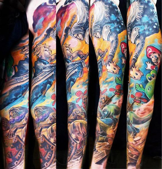 Colored Video Game Tattoo On Arm Sleeve