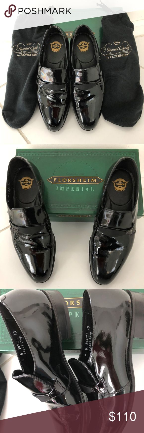 Florsheim Patent Leather Mens Tuxedo  Dress Shoes Mens Black Florsheim Black Patent Leather Tuxedo Dress Shoes.  Size 9D. Worn Once.   Excellent  Pre Loved Condition.  Has original shoe covers & box. Florsheim Shoes Loafers & Slip-Ons
