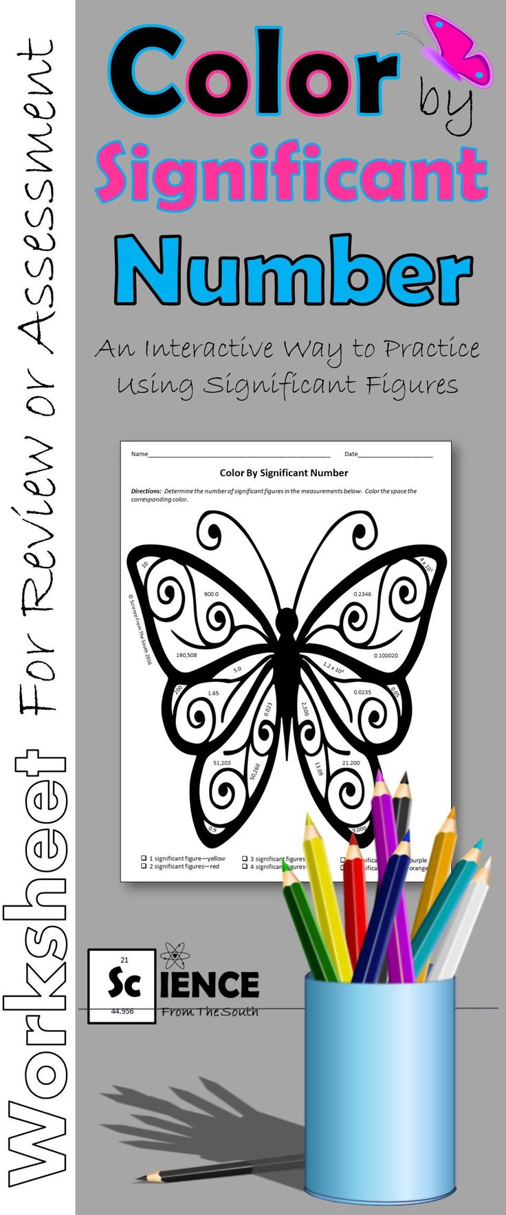 The coloring book of physics - Color By Significant Number Butterfly For Review Or Assessment
