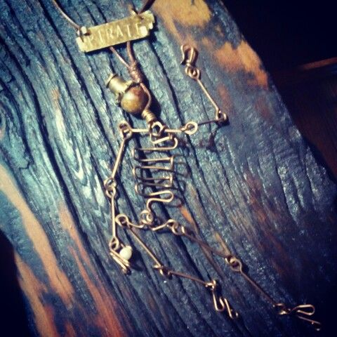 Pirate skeleton in brass with jade and a fresh water pearl