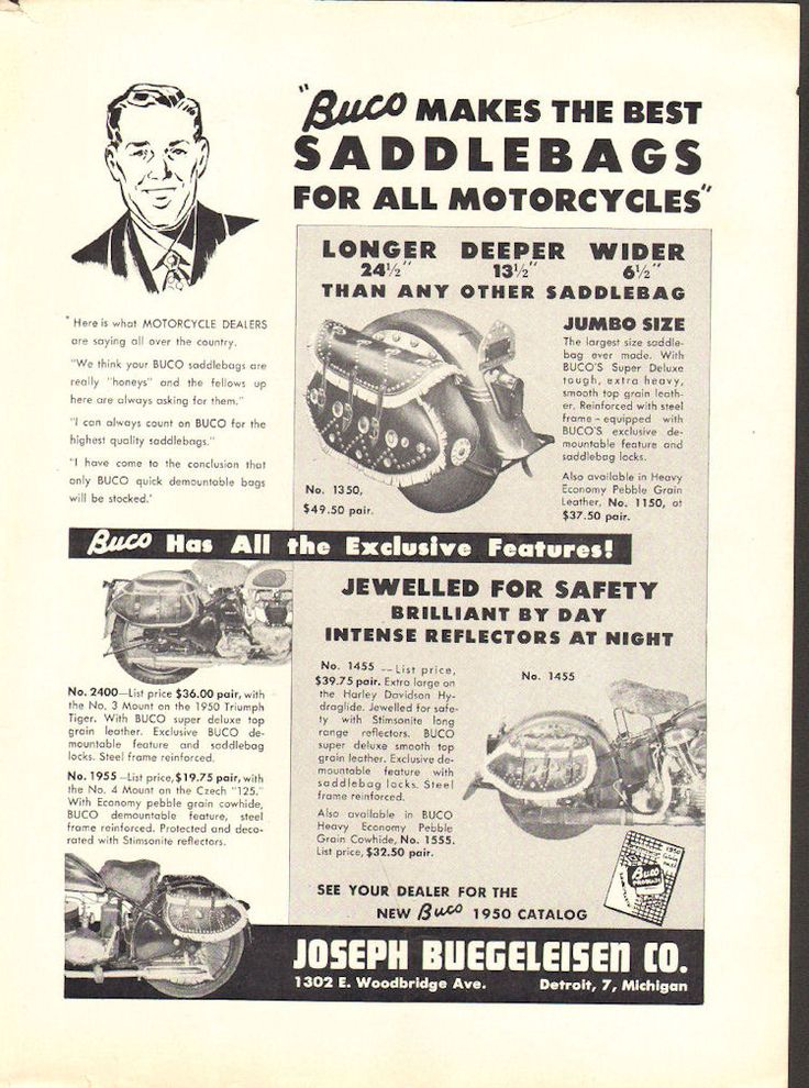 1950 buco saddlebags for all motorcycles 1 page ad vintage 1950 buco saddlebags for all motorcycles 1 page ad vintage motorcycle parts accessories pinterest vintage motorcycles fandeluxe Images