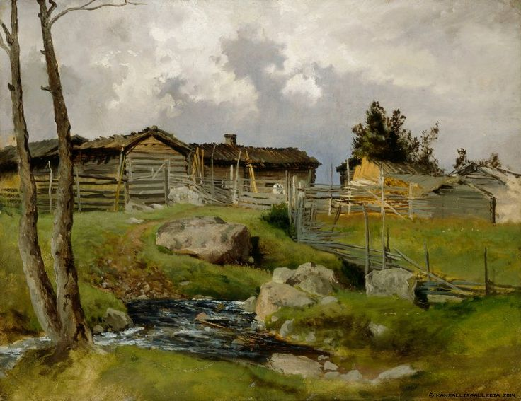 Hjalmar Munsterhjelm (1840-1905) Lähestyvä ukonilma / Approaching thunderstorm 1870 - Finland