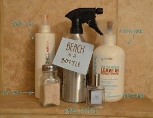 DIY Beach Wave Hair Spray  1 Cup WARM water  3 Tablespoons Sea Salt  1 Tablespoon Gel or Spray Gel  1/2 Tablespoon Conditioner (or leave-in)  A couple spritzes of your favorite perfume  DIRECTIONS:  Mix Warm water and salt first and shake well.  Add the rest of the ingredients.  Spray your hair generously and scrunch.  (In this photo my hair was already a  little wavy before I began)