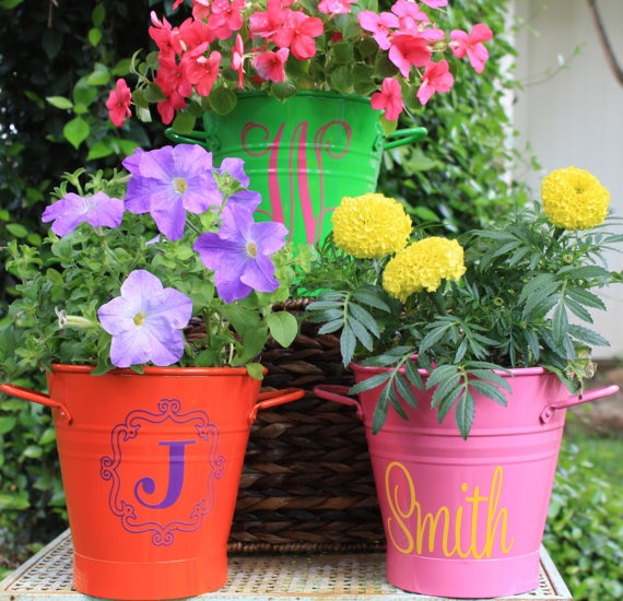 Mother's Day or Teacher Appreciation Personalized steel planter/pot/bucket Lime green by HeaneyDesigns, $18.50