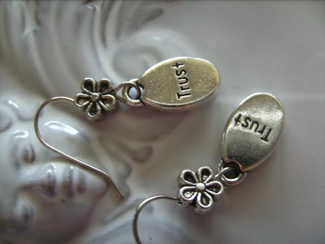 """TRUST "" INSPIRATIONAL CHARM design earrings silver tone charm earring - by createddesignsbyrina on madeit"