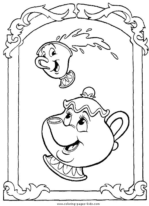 Mrs Potts And Chip Beauty The Beast Color Page Disney Coloring Pages