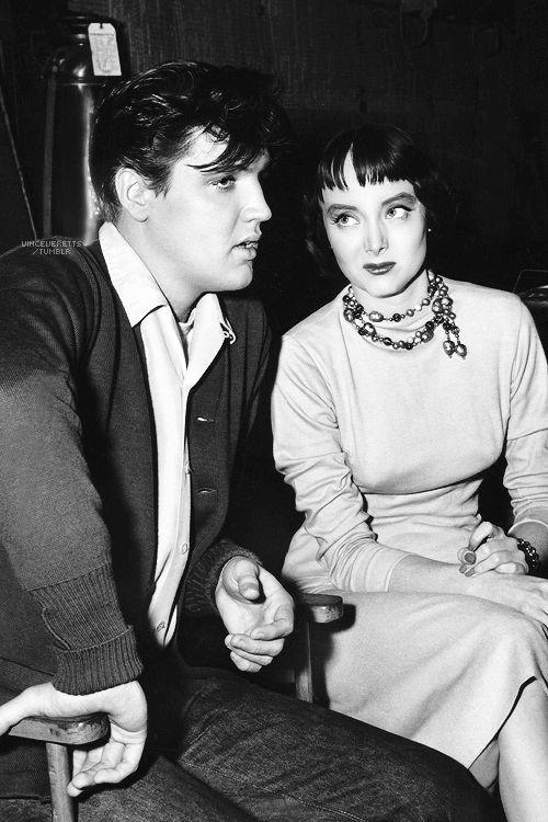 "Elvis and Carolyn Jones on the set of ""King Creole"", 1958."