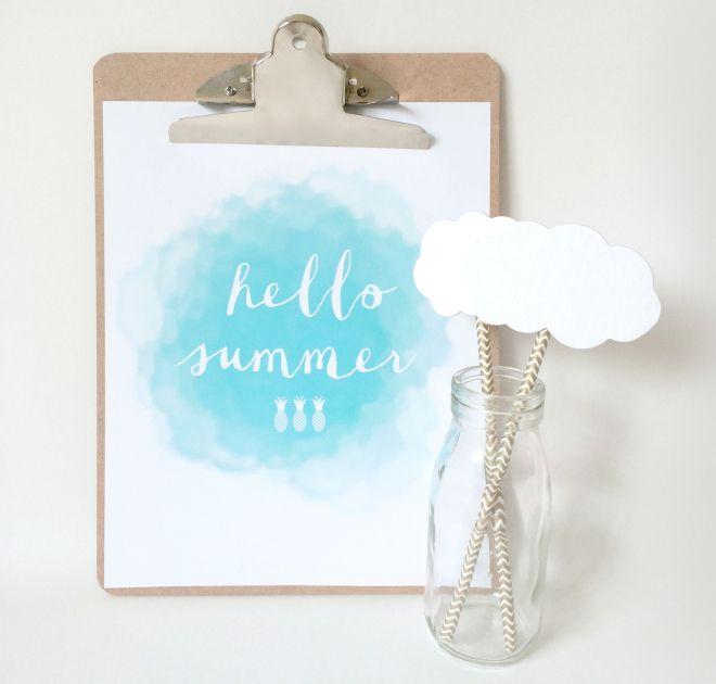 free HELLO Summer printable