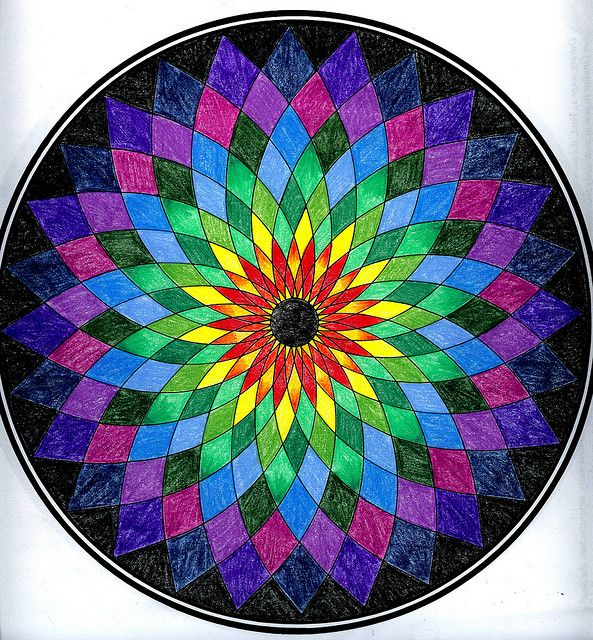 She has Finished coloring mandalas now that She have a new set of Prismacolor color pencils.