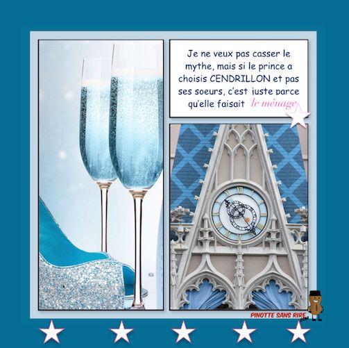 Le prince a choisis Cendrillon Je ne veux pas casser le mythe mais le prince a choisi Cendrillon et pas ses soeurs, c'est juste parce qu'elle faisait le ménage.  L'horloge du château de Cendrillon à Walt Disney World Le château de Cendrillon à Disney au parc Magic Kingdom comporte un g