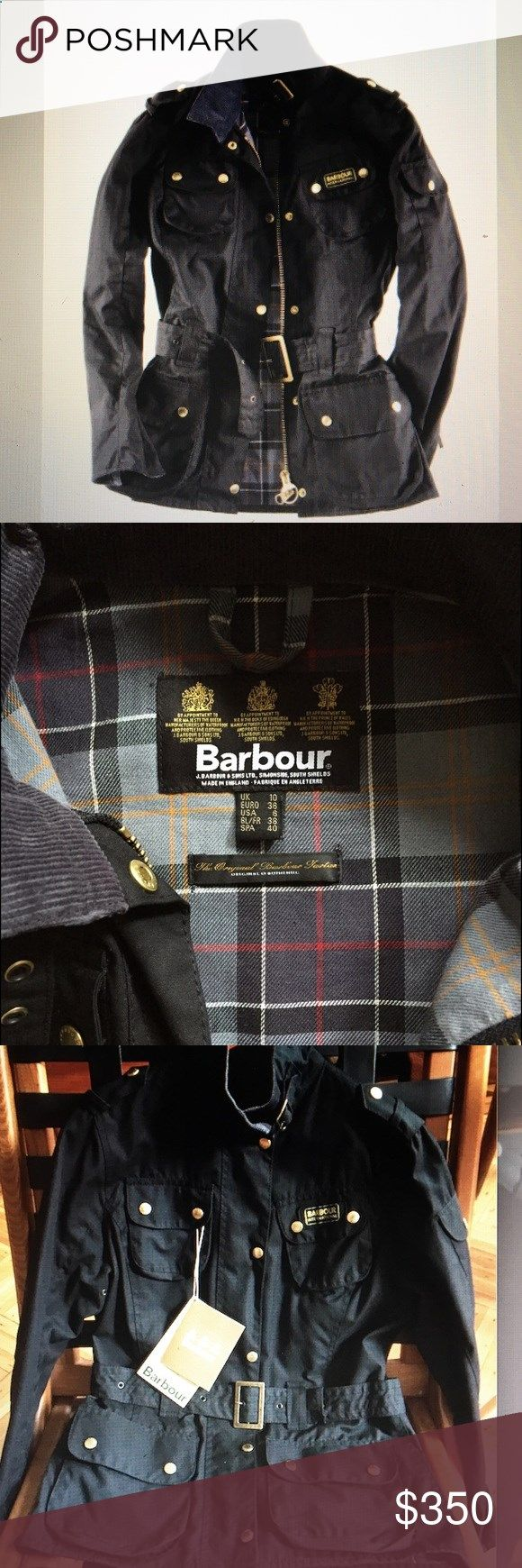 BARBOUR WOMENS INTERNATIONAL JACKET BARBOUR WOMENS INTERNATIONAL JACKET. Made in England. Size US 6. Never worn. Iconic Biker Style. Heavyweight 8oz. Barbour Sylkoil Wax Shell with Belt. 100% Cotton Tartan Lining. Sponge clean. 2way Zipper. All weather with Matte Finish. Barbour Jackets  Coats