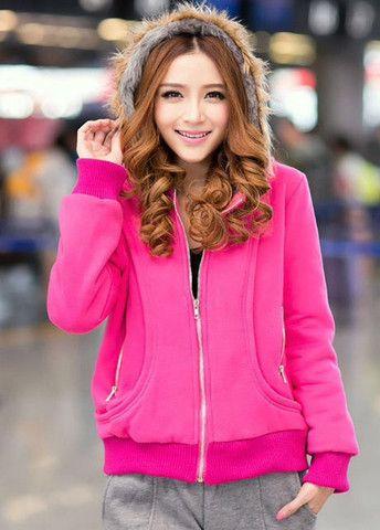 Comfy Zipper Closure Hooded Collar Thickened Sweatshirt Coat – teeteecee - fashion in style
