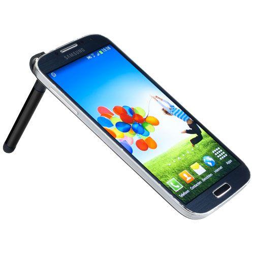 Soporte para smartphone y stylus de aluminio Jazz. Mini stylus para dispositivos de pantalla táctil. El clip de plástico funciona como soporte para móvil al insertarlo en el conector de audio. Aluminio.