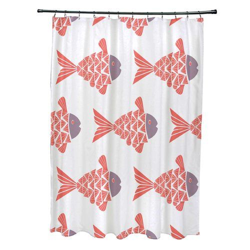 Found it at Wayfair - Grand Ridge Polyester Fish Tales Coastal Shower Curtain