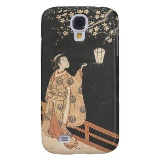 Young Woman Admiring Plum Blossoms at Night art Samsung Galaxy S4 Cases #young #woman #japanese #lady #plum #blossom #vintage #oriental #gifts #accessories #harunobu #suzuki