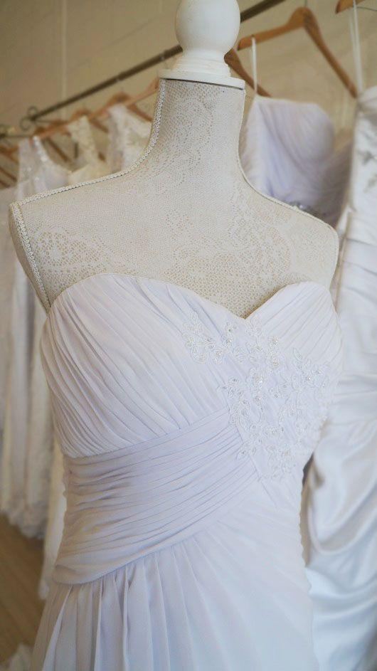 Soft flowing pleated chiffon wedding dress.  Urban Bride Cape Town.