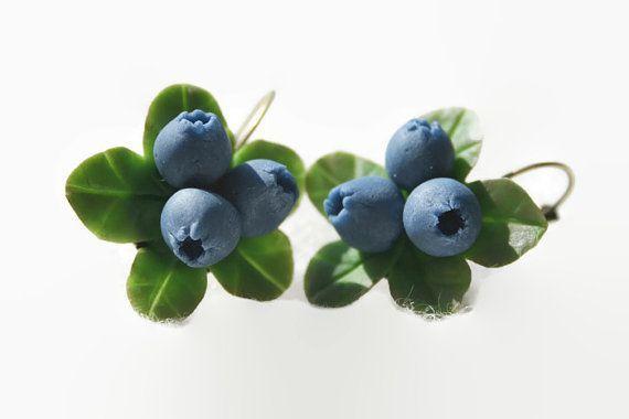 Blueberry earrings - berry jewelry - flower jewelry - Rustic jewelry- Polymer clay jewelry - Floral jewelry- blue jewelry - Jewelry gift