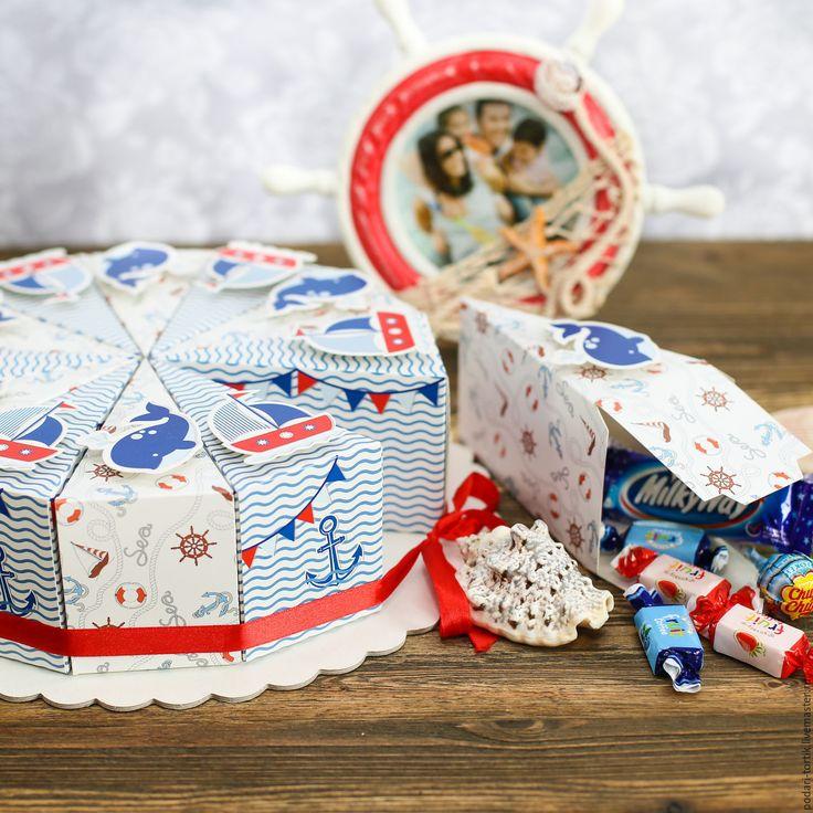 """Купить Торт из бумаги (картона) """"Морской"""" - торт из бумаги, торт из бонбоньерок, детский подарок"""
