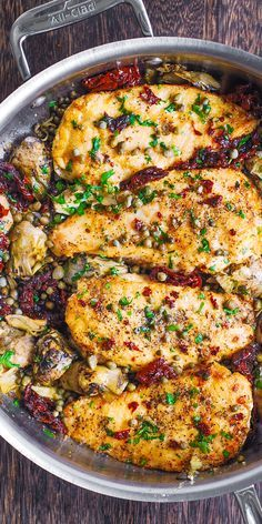 Mediterranean Chicken with Sun-Dried Tomatoes, Artichokes, and Capers #chickendinners #easychickenrecipes